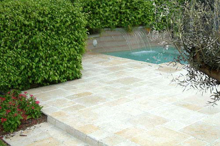 Mediterranean design terrace garden and water feature London
